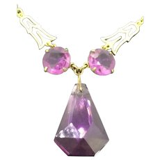 Art Deco Purple Glass Gilt Necklace Choker Elegant Original C.1920