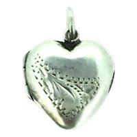 Dainty Little Hinged Locket Pendant Heart Front Pattern Embossed 1930