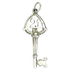 Silver Sterling 21 Key Charm Pendant Coming of Age Gift