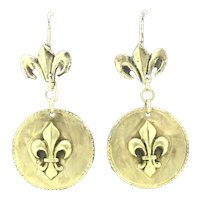 Old Brooch Recycled into Earrings Gold 9CT Ear Wires French Fleur De Lys