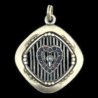 Edwardian German Pendant Small Garnet Stones Floating Heart Stunning