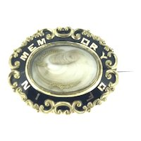Victorian Style Mourning Black Gold Enamel Hair Ensemble Brooch Pin 1850
