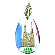 Reverse Intaglio Köln German Trinket Pendant Souvenir Colourful