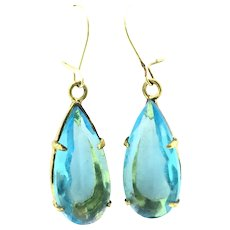 Vintage Blue Paste Gilt Earrings Costume Drops Pierced Sun and Sea