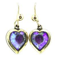 Vintage Heart Earrings Gilt Glass Rainbow Blue Drops Costume