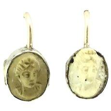 Georgian Rare Italian Lava Cameo Earrings Small Gold 9CT Ear Wires Fantastic