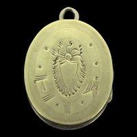 Edwardian Locket Pendant Embossed Gold Filled Elegant