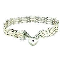 Traditional Silver Sterling Gate Bracelet Heart Small Padlock Hallmarked C.1900