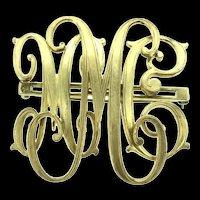 Estate Monogram Brooch Pin Gold Filled Beauty C.1910