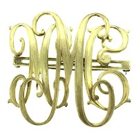 Estate Monogram Brooch Pin Gold Filled Beauty C.1910