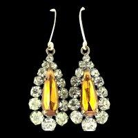 Gold 9CT Back Foiled Stones Drop Earrings Yolk White Paste c.1900