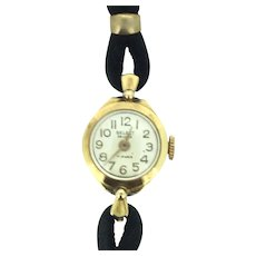 Vintage 17 Jewels Small Wind Up Mechanic Wristwatch Black Suede Band