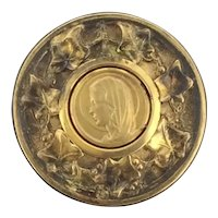 Art Nouveau Gold Filled 14CT Ivy Textured Religious Brooch Pin Signed