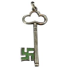 Small Green Enamel Key Charm Pendant Silver Tested