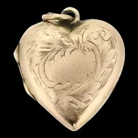 Gold 9CT Heart Locket Pendant Fob Front Patterned Hallmarked c.1880