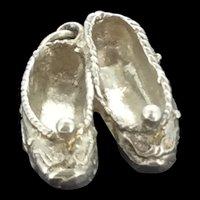 Silver Ballet Shoes Charm Pendant Adorable Unique Design c.1920