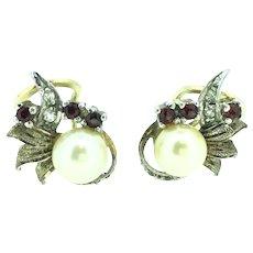 Silver Sterling Gilt Pierced Earrings Cultured Pearls Garnet Studs 1950s