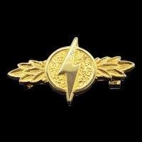 Collectable Thomas Fattorini Hallmarked Gilt Small Thunder Brooch Pin