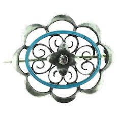 Art Nouveau Enamelled Brooch Pin Silver 935 Hallmarked Garnet