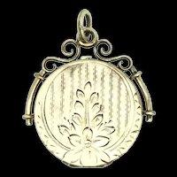 Edwardian Rolled Gold Locket Pendant Embossed Flowers Monogram C1900