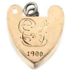 Edwardian Rose Gold 9CT Heart Monogram Pendant Charm Signed 1900