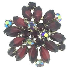 Statement 1950s Glass Brooch Pin Red And Iridescent Stones