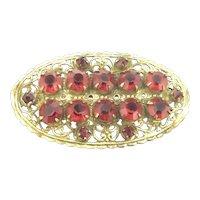 Original Czech Red Glass Gilt Filigree Art Deco Style Brooch Pin