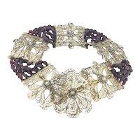 Filigree Garnet Multiple Strands Georgian Choker Necklace c.1800