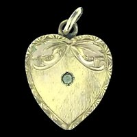Edwardian Patterned Paste Heart Pendant Dainty Beautiful c.1900