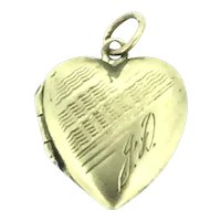 Dainty Patterned Monogram Gold 9CT Hallmarked Heart Locket Pendant c.1900