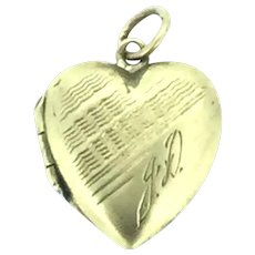 Dainty Patterned Monogram Gold 9CT Hallmarked Heart Locket Pendant c.1900