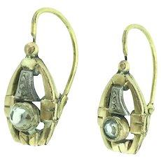 Edwardian Dormeuse Paste Earrings Gold Filled Elegant French