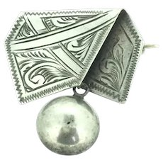 Silver Aesthetic Small Brooch Pin Envelope Dangle C.1860