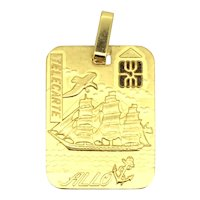 Vintage French Pendant Phone Card Gold Plated Quaint