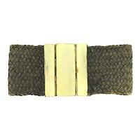 Antique Woven Hair Bracelet Rolled Gold Clasp C.1880