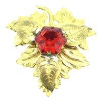 Czech Gilt Brooch Pin Red Hexagon Glass Foliage Beauty c.1920