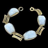 "7"" Vintage Bracelet Carved Blue Sky Glass Yellow Metal Articulated Pristine"