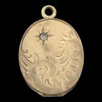 Vintage Rolled Gold Embossed Paste Locket Pendant Scenic Nature 1930