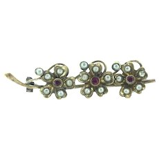 Edwardian RG Brooch Pin Ruby Paste Stones Costume Flowers