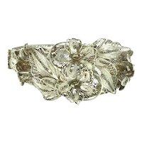 Art Nouveau Fine Silver Filigree Hinged Bracelet Flowers Beautiful C.1890