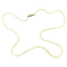 20' Graduated Cultured Pearls Necklace 9CT Gold Clasp Elegant Vintage