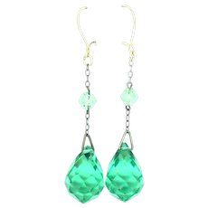 Faceted Green Glass Drop Earrings Costume c.1920