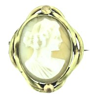 Victorian Style Cameo Carved Shell Gilt Brooch Pin with Repairs c.1890