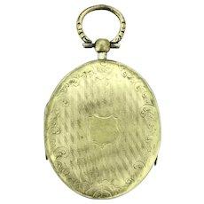 Edwardian Triple Locket Pendant Fob Large Powerful Etched Gold Filled