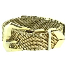 Vintage Mesh Buckle Ring Gold Filled Beautiful c.1960