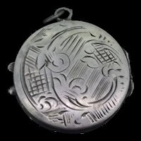 Victorian Style Silver Embossed Patterned Locket Pendant C.1900