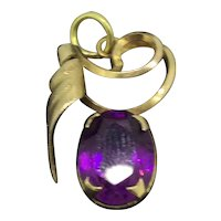 Small Rolled Gold Hallmarked Purple Paste Abstract Pendant C.1915