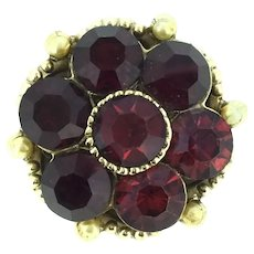 Coro Signed Red Glass Stones Brooch Pin