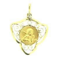 Adorable Angel Gold Filled Filigree Pendant c.1920