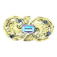 Art Nouveau Original French Gilt Blue Glass Paste Brooch Pin c.1895